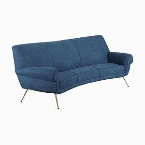 Sofa aus Stoff, Schaumstoff, Messing & Federn, Italien, 1950er
