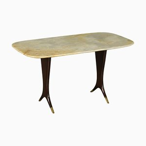 Coffee Table in Stained Wood, Marble & Brass, Italy, 1950s