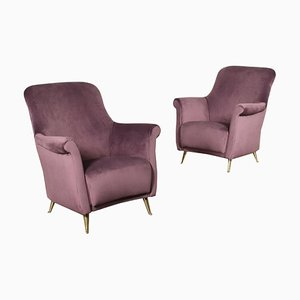 Armchairs in Foam, Spring & Velvet, Italy, 1950s, Set of 2