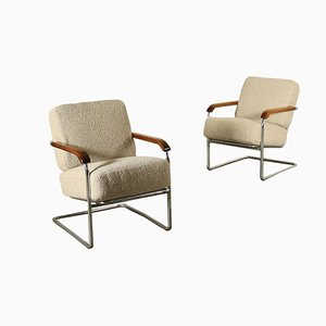 Armchairs in Wood, Chromed, Metal, Spring & Fabric, Italy, 1940s, Set of 2