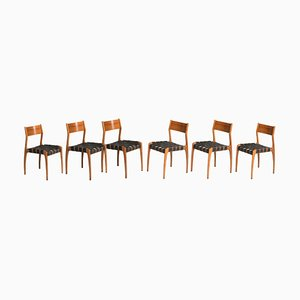 Woven Leather & Teak Model 993 Chairs from Tipi Studio, Set of 6