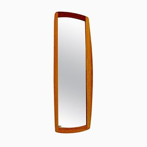 Oval and Curved Oak Mirror Luxus by Uno & Östen Kristiansson, 1960s