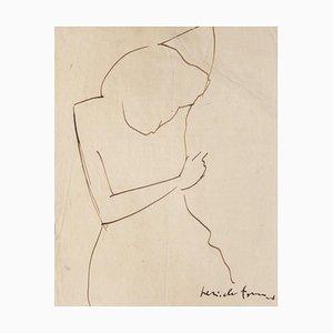 Pericle Fazzini, Figure de Femme, Dessin à l'Encre, 1949