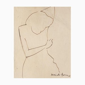 Pericle Fazzini, Figure of Woman, Ink Drawing, 1949