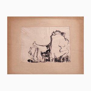 Herta Hausmann, Female Nude, Black Marker Drawing, Mid-20th Century