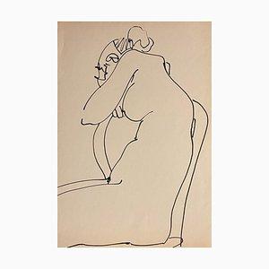 Tibor Gertler, Interner Akt, Tuschezeichnung, 1950er