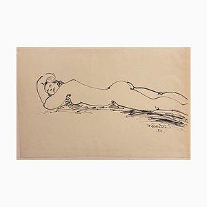 Tibor Gertler, Akt liegend, Tintenzeichnung, 1951