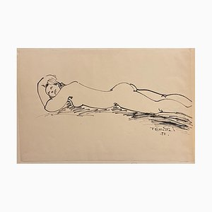 Tibor Gertler, Nude Lying Down, Ink Drawing, 1951