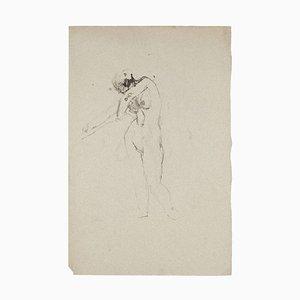 Jeanne Daour, Akt, China Tinte und Aquarell, Mitte 20. Jahrhundert