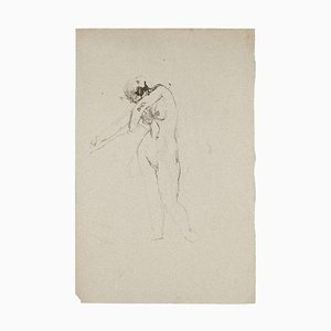 Jeanne Daour, Nude, China Ink and Watercolor, Mid-20th Century