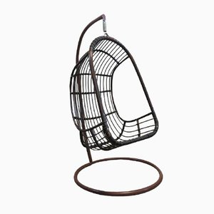 Egg chair sospesa vintage in vimini e bamboo