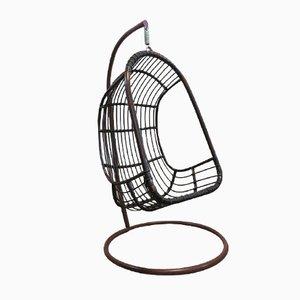 Egg Chair Vintage Suspendue en Rotin et en Bambou