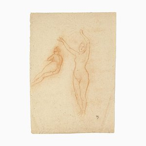 Arnold Heldink, Nudes Study, Pastel Drawing, Early 20th Century