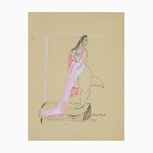 Unbekannt, Frauengestalt, Tempera und China Tinte, Signierte Avitch, 1980er