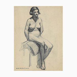 Nude Woman, Pencil on Paper, André Meaux-Saint-Marc, Early 20th Century