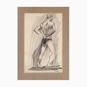 Unknown, Wrestler, Bleistiftzeichnung, 1955