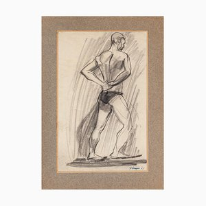 Unknown, Wrestler, Pencil Drawing, 1955