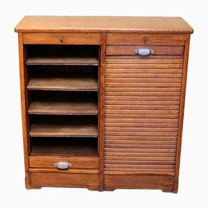 French Oak Double Tambour Front Filing Cabinet
