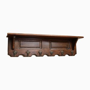 French Oak Wall Shelf with Hooks