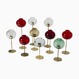 Messing und Glas Kerzenhalter von Hans-Agne Jakobsson, 10er Set