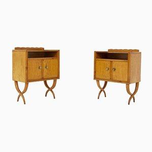 Comodini Mid-Century in legno, vetro e ottone di Paolo Buffa, set di 2