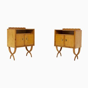 Mid-Century Wood, Glass and Brass Nightstands by Paolo Buffa, Set of 2