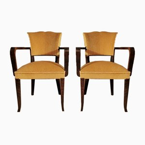 Art Deco French Chairs with Armrests, 1930s, Set of 2