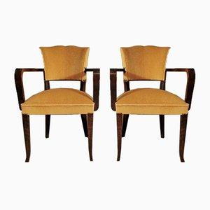 Französische Art Deco Stühle mit Armlehnen, 1930er, 2er Set
