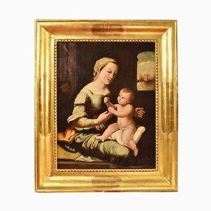 Öl auf Leinwand, Madonna mit Kind, 19. Jahrhundert