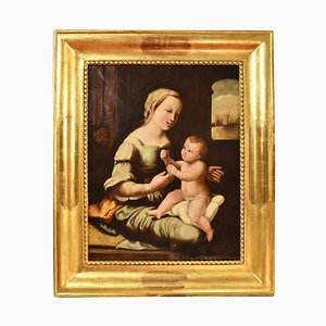 Oil on Canvas, Madonna with Child, 19th Century