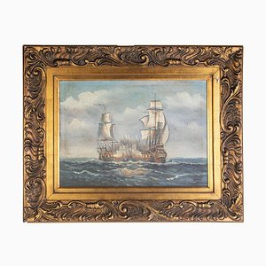 Sailing Ships In Battle, 1900s, Oil on Canvas