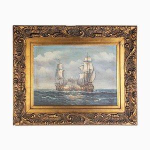 Segelschiffe in der Schlacht, 1900er Jahre, Öl auf Leinwand