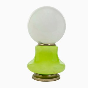 Vintage Modern Green Glass Sphere Table Lamp, 1970s