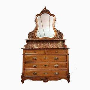 Antike Louis XV Kommode mit Spiegel