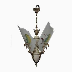 Glass, Brass, Plastic & Aluminum Ceiling Lamp, 1950s
