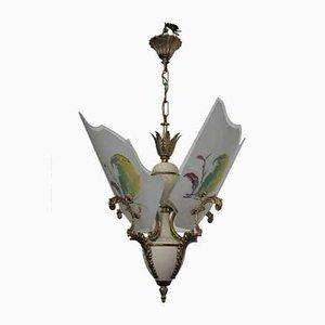 Lampada da soffitto in vetro, ottone, plastica e alluminio, anni '50