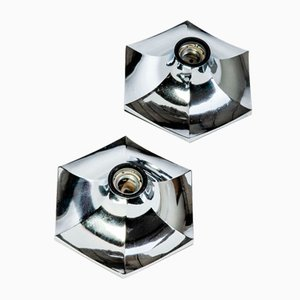 Applique moderne in metallo cromato, anni '70, set di 2