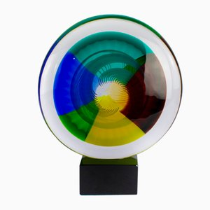 Disc Sculpture with Murano Glass Base by Valter Rossi for VRM