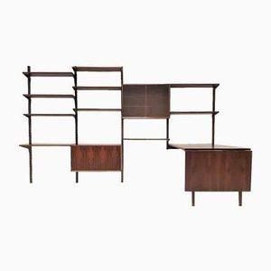 Libreria modulare in palissandro con tavolo di Poul Cadovius per Cado, anni '60, set di 19