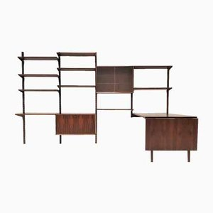 Rosewood Modular Wall System with Table by Poul Cadovius for Cado, 1960s, Set of 19