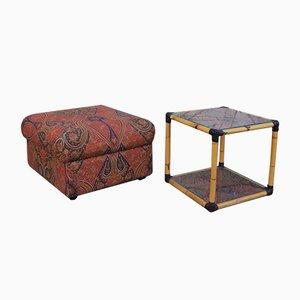 Pouf et Table Basse en Rotin et Verre, 1970s, Set de 2