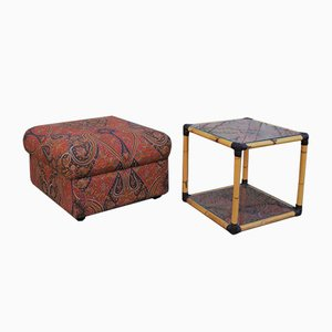 Rattan & Glass Pouf & Coffee Table, 1970s, Set of 2