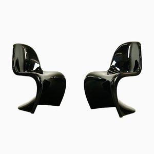 Schwarze Panton Stühle von Verner Panton für Herman Miller, 1975, 2er Set