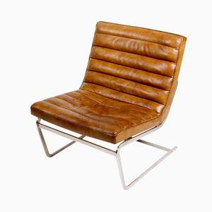 Chaise en Cuir et en Acier, Danemark, 1960s