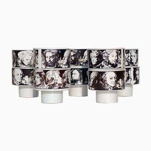 Scodelle in ceramica bianche e nere di Pietro Annigoni per Porcellane Eva Sud, anni '60, set di 10