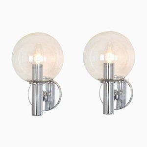 Glass Wall Lights from Kaiser Idell / Kaiser Leuchten, Germany, 1960s, Set of 2