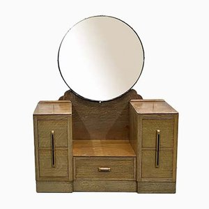 Art Deco Blonde Oak Dressing Table, 1930s