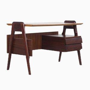 Schreibtisch aus Buche, Mahagoni & Eschenholz, 1950er