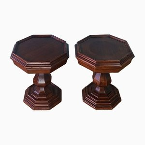 Antique Mahogany Side Tables, Set of 2