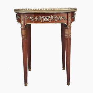 Mahogany Side Table with Marble Top, 1800s